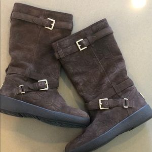 Coach Thelma Embossed Chestnut Brown Suede Boot